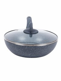 Wonderchef Granite Wok with Lid, 24cm, 2.7L,Grey