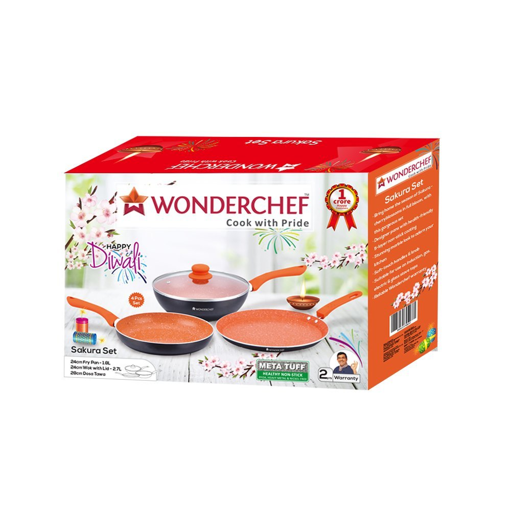 Wonderchef Sakura Aluminium Induction Base Cookware Set, Set of 3-Pieces with lid, Black/Orange