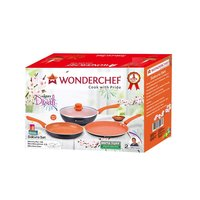Wonderchef Sakura Aluminium Induction Base Cookware Set, Set of 3-Pieces with lid, Black/Orange
