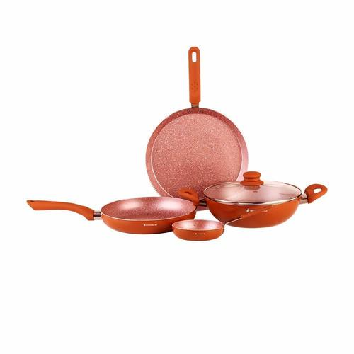 Wonderchef Rose Gold Aluminium Cookware Set, 5-Pieces, Rose Gold