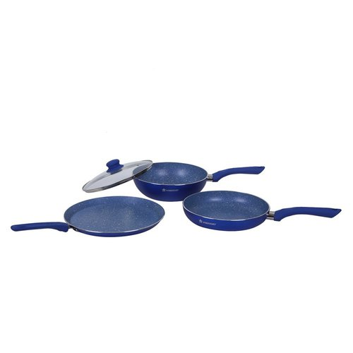 Wonderchef Royal Velvet Plus Induction Base Cookware Set, 4-Pieces, Blue
