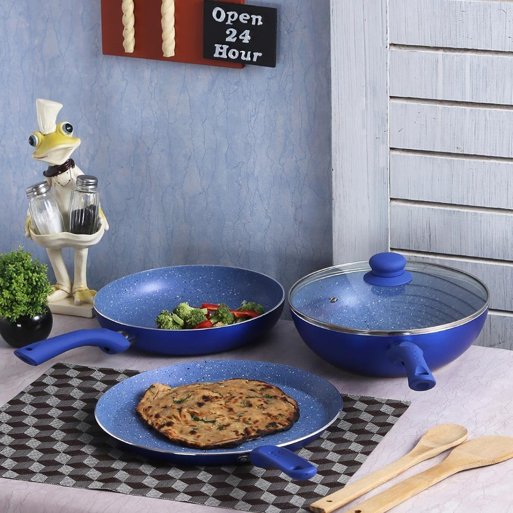 Wonderchef Royal Velvet Plus Induction Base Cookware Set, 4-Pieces, Blue