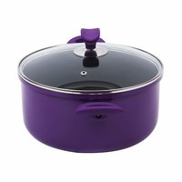 Wonderchef Induction Base Non-Stick Aluminum Elite Casserole with Lid, 20cm, 2-Pieces, Purple and Black