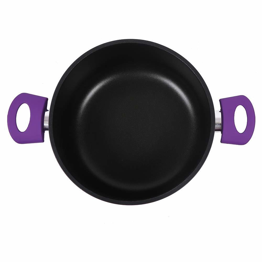 Wonderchef Induction Base Non-Stick Aluminum Elite Casserole with Lid, 20cm, 2-Pieces, Purple and Black
