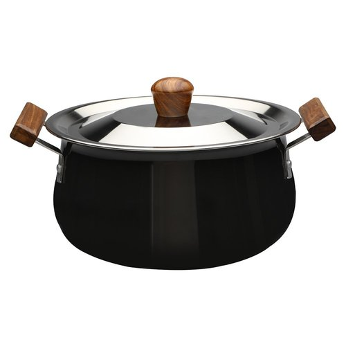 Wonderchef Ebony Hard Anodized Aluminium Handi with Lid, 3.5 Litres/21cm, Black/Brown