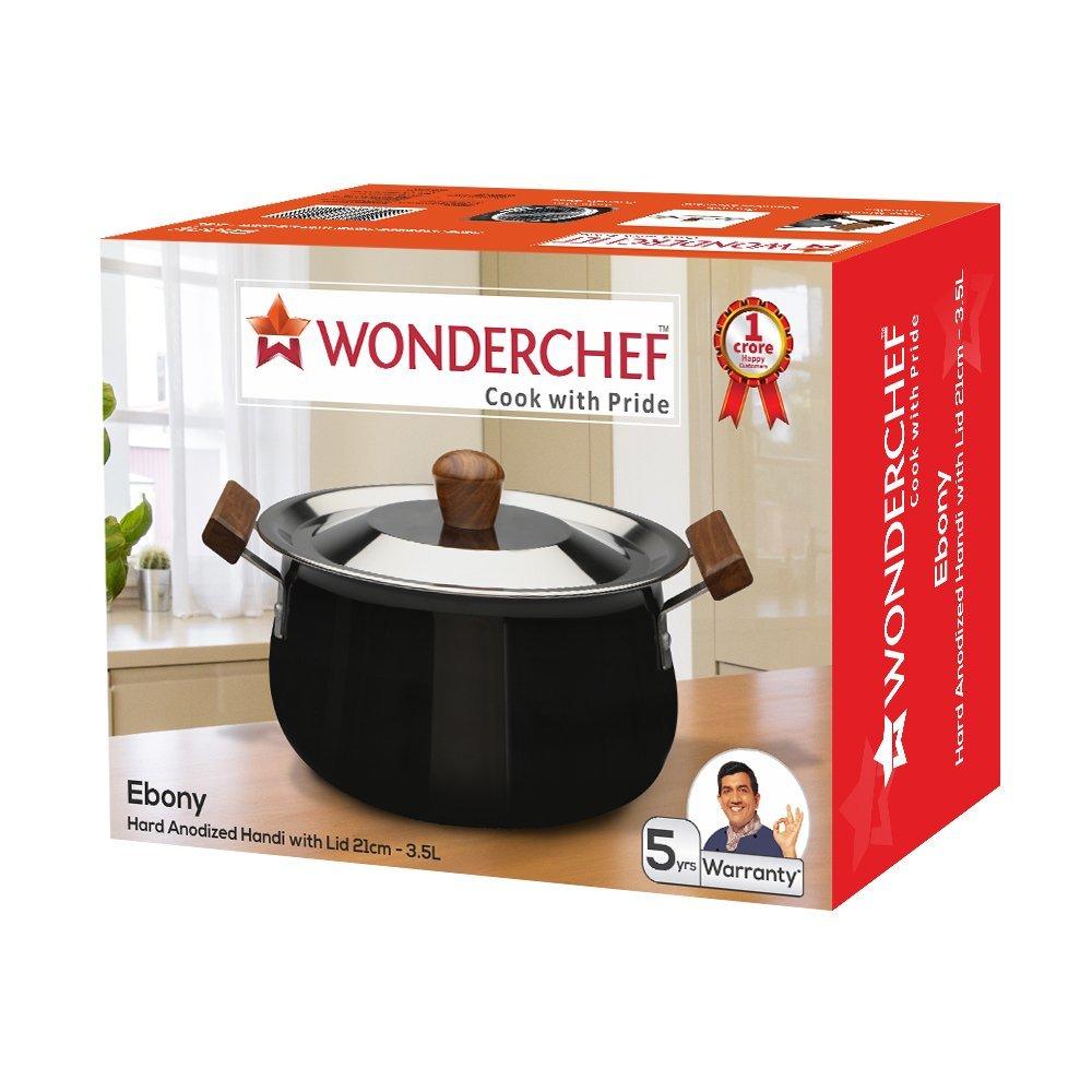 Wonderchef Ebony Hard Anodized Aluminium Handi with Lid, 3.5 Litres/21cm, Black/Brown