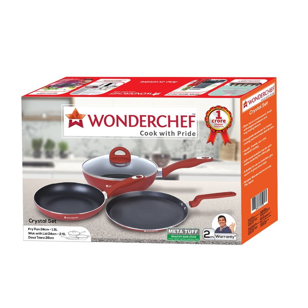 Wonderchef Crystal Aluminium Cookware Set, 1.5 Liters/24 cm, 4-Pieces, Red