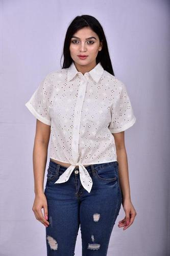 Schiffly Embroidery White Shirt