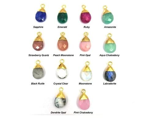 Gemstone Pear Drop Gold Cap Charms Pendant
