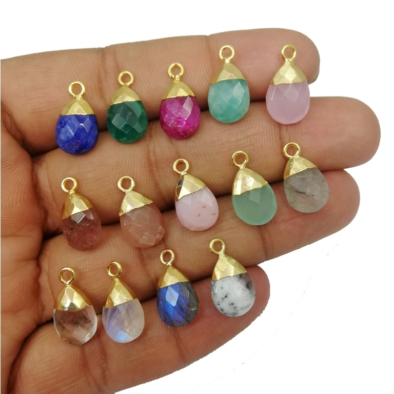 Gemstone Pear Drop Gold Cap Charms Pendant
