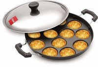 Tosaa 12 Cavity Appam Patra Side Handle with Lid, 23 cm, Black