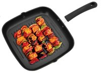 Tosaa Square Non Stick Grill Pan, 24 cm, Red/Grey