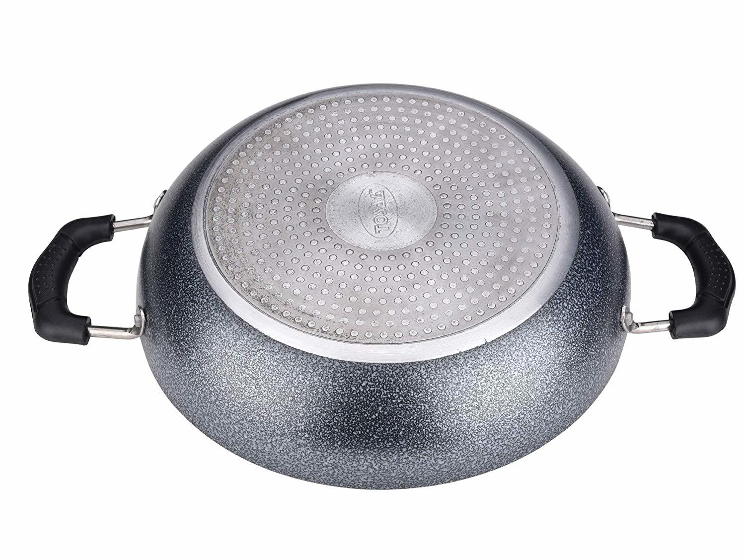 Tosaa Non-Stick 2 Litre Kadhai with Glass Lid, 24 cm (Induction and Gas Compatible), Black