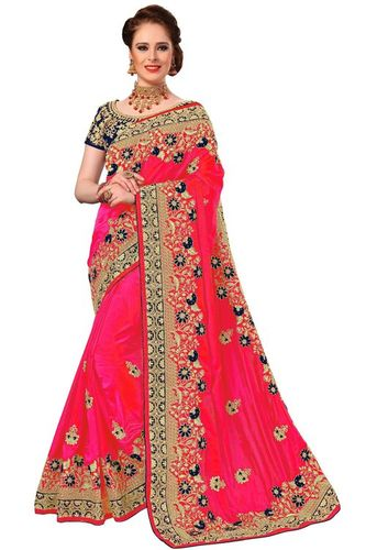 Pink Color Embroidered Silk Saree