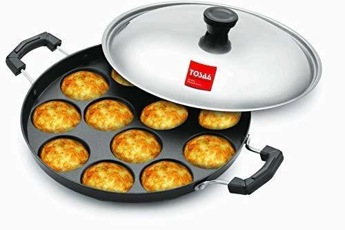 Tosaa Non-Stick 12 Cavity Appam Patra Side Handle with lid, Color May Vary