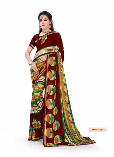 deginer georgette printed saree