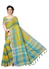 New block printed cotton silk saree