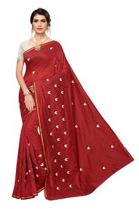 Designer Chanderi Embroidery Saree