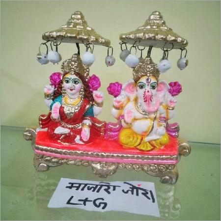 Terracotta Clay Ganpati And Laxmi Statue