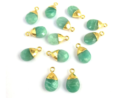 Amazonite Pear Drop Gold Cap Gemstone Pendant