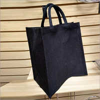 Jute Black Shopping Bag