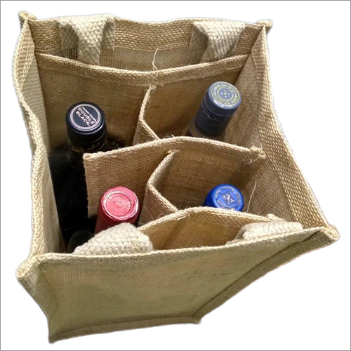Jute 4 Bottle Wine Bag