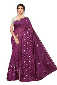 Letest chanderi cotton designer saree with attached blouse