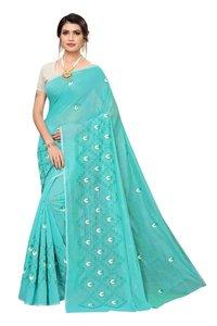 Letest chanderi cotton designer saree with attached blouse