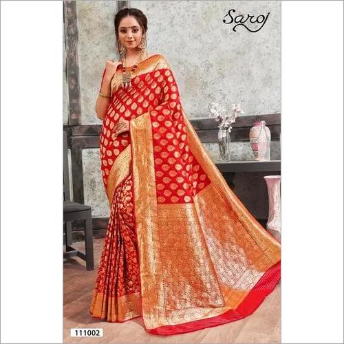 Banarasi Red Silk Butta  saree