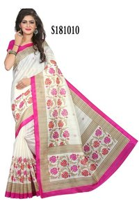 new bhagalpuri silk saree with attechd blouse