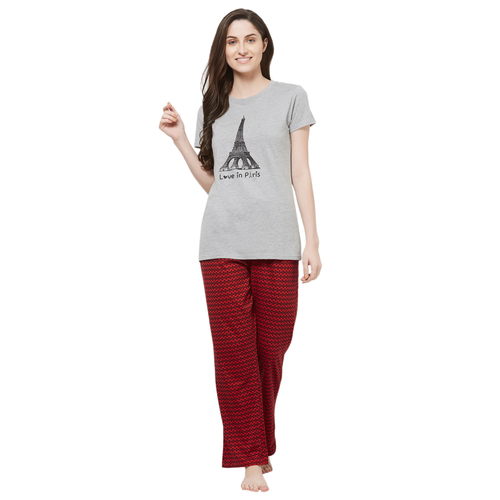 Evolove Womens Printed Pajama T Shirt Sets (EVO2)