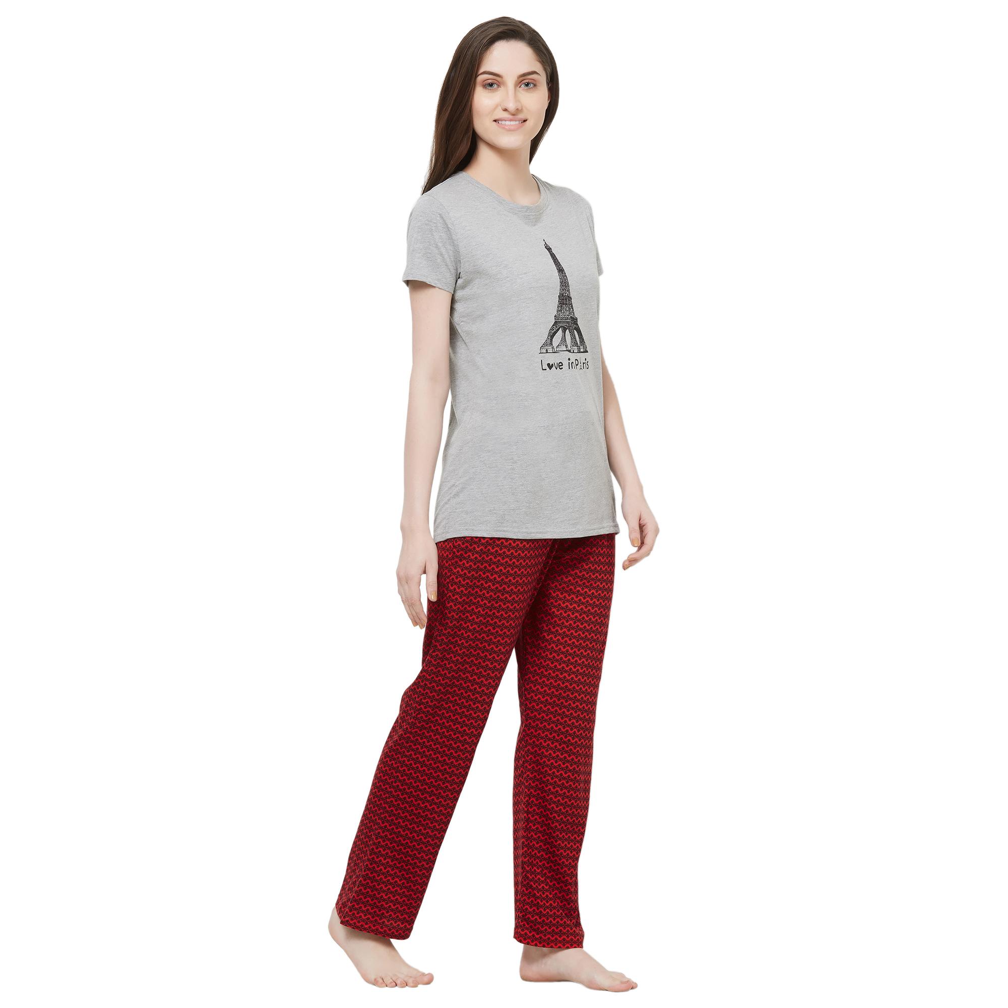 Evolove Womens Printed Pajama T Shirt Sets (EVO2)