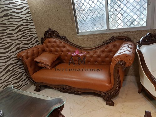 handcrafted wooden office couch