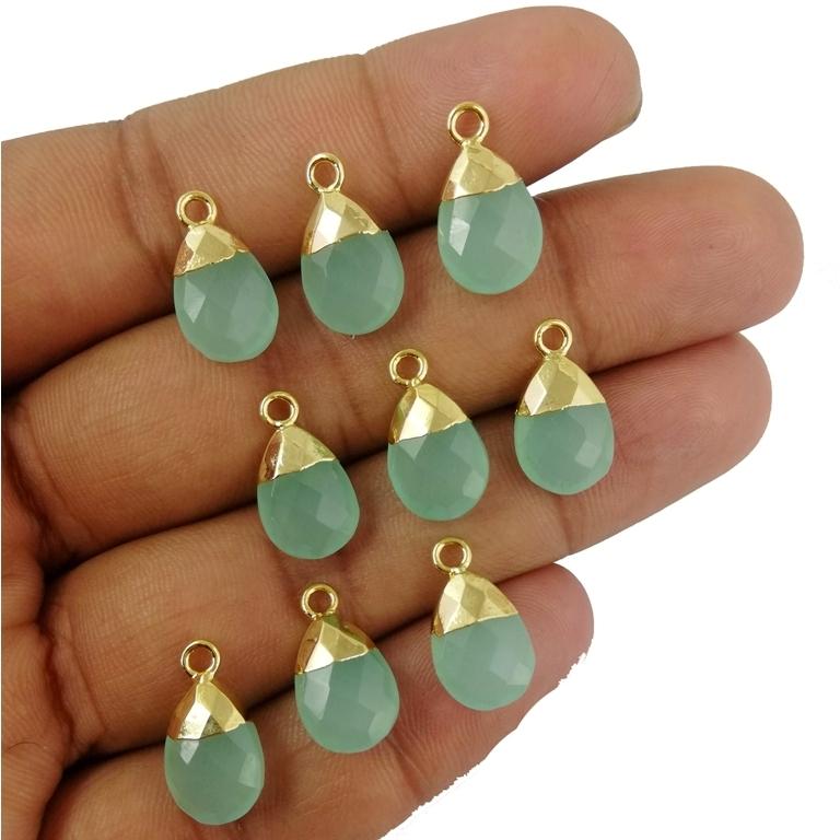 Aqua Chalcedony Pear Drop Gold Cap Gemstone Pendant