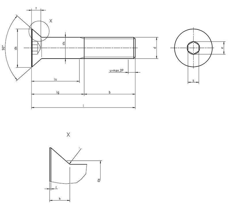 DIN 7991 Hexagon socket countersunk head cap screw