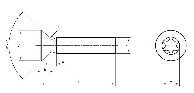DIN 965 tx Countersunk screws with TORX