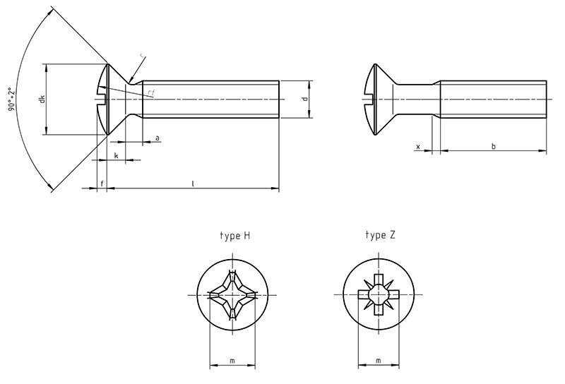 DIN 966 Cross recessed raised countersunk head screws