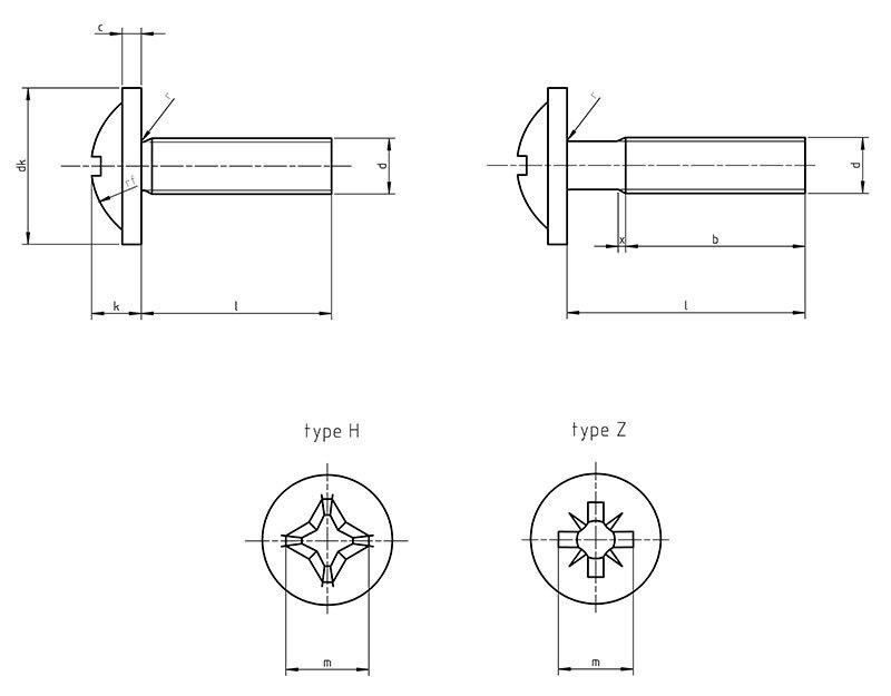 DIN 967 Cross recessed pan head screws with collar
