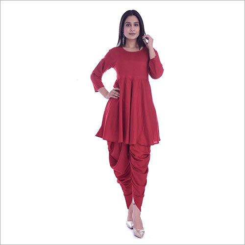 Ladies Rayon Flared Kurta With Dhoti Set