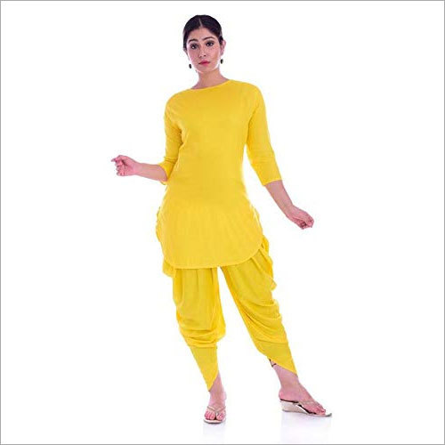 Ladies Mid-Thigh Rayon Kurta with Dhoti Set