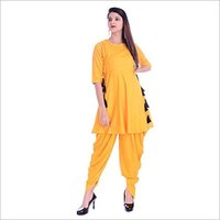 Ladies Rayon Solid Kurti with Dhoti Set
