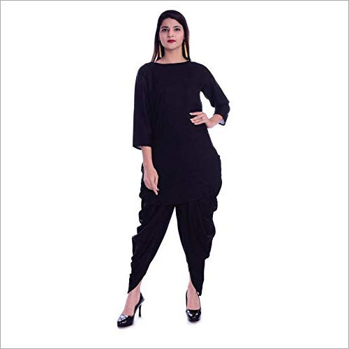 Ladies Rayon Mid-Thigh Kurta With Dhoti Set