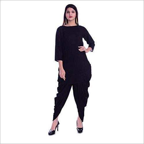 Ladies Rayon Mid-Thigh Kurta With Dhoti Set