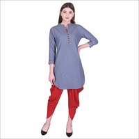 Ladies Cotton Solid Straight Kurti with Dhoti Set
