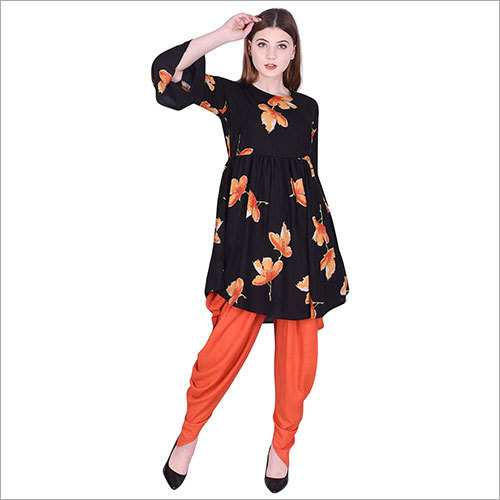 Ladies Rayon Printed Flared Kurti with Dhoti Set