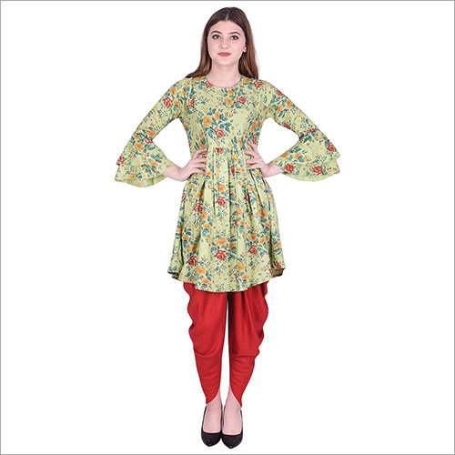 Ladies Designer Printed Flared Kurti with Dhoti Set