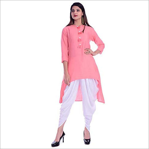 Ladies Plain Rayon Mid-Thigh Kurti With Dhoti Set