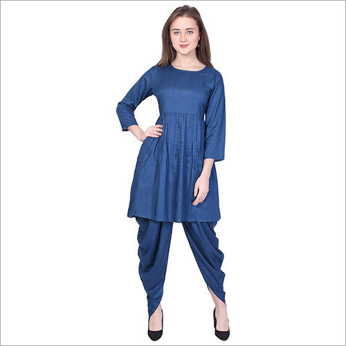Ladies Rayon Solid Flared Blue Kurti With Dhoti Set