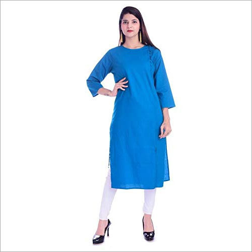 Ladies Plain Rayon Solid Kurti
