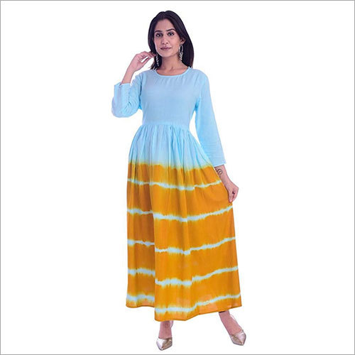 Ladies Rayon Tie Dye Flared  Kurti